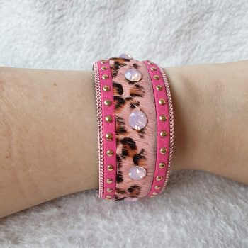panter studs armband roze