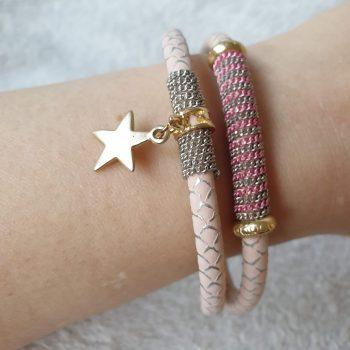 ster armband roze