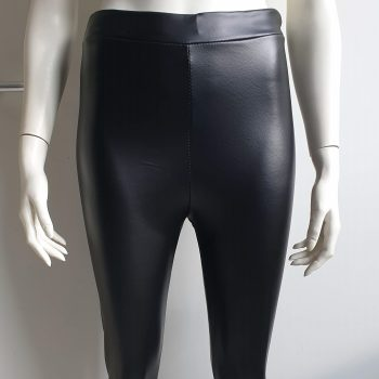 high waist leather look legging zwart