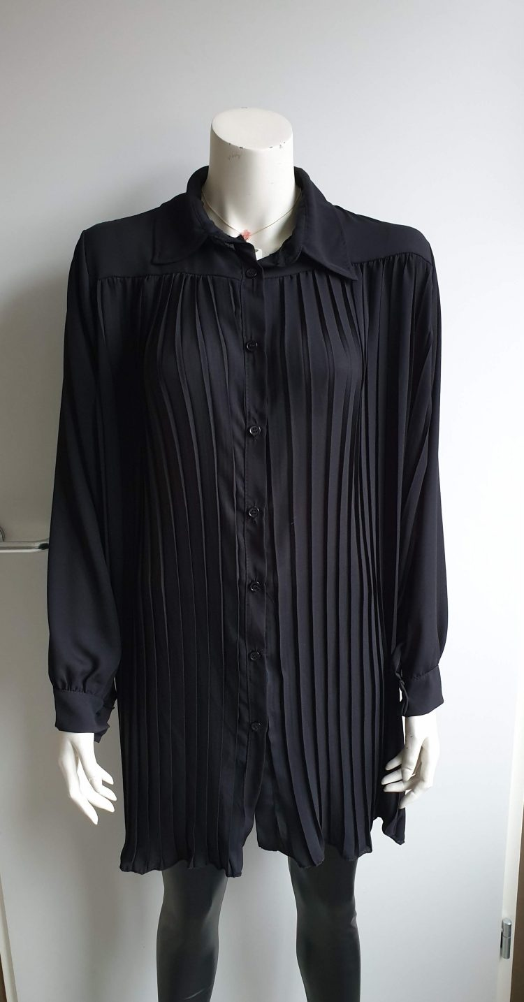 plissé blouse zwart