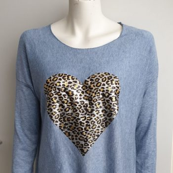 soft panter trui jeansblauw