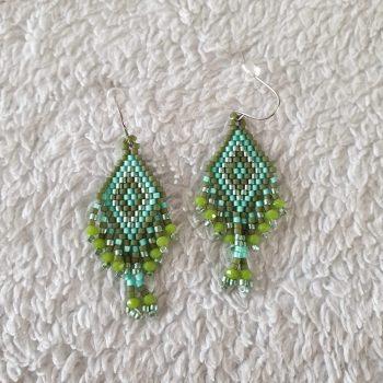 kralen oorbellen groen
